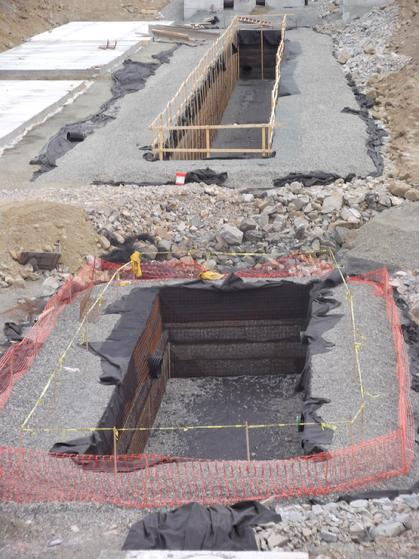 Multiple large storage capacity stormwater detention systems constructed in New England.