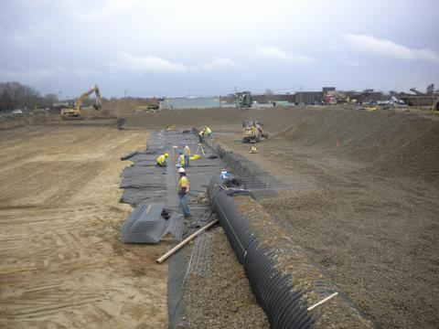 Large diameter inlet pipe on undergorund stormwater detention project.