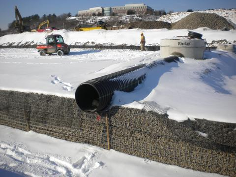Inlet pipe from Stormceptor water quality treatment manhole.