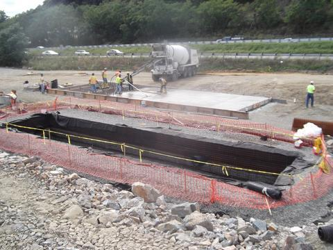 Pouring concrete roof for underground stormwater detention system.