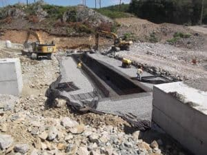 Construction of stormwater management systems in bedrock geology.