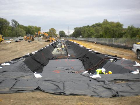 Liner placement for stormwater management.