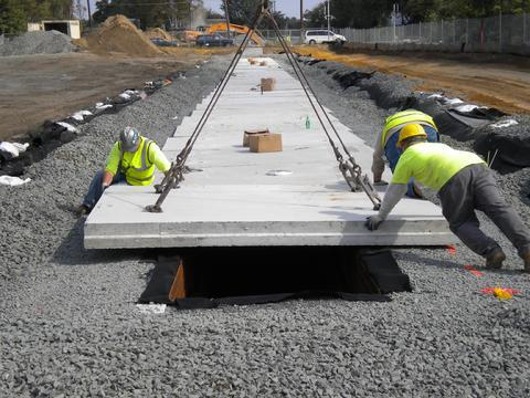 FHWA and AASHTO designed dridge deck is placed on top of GeoStorage chamber.