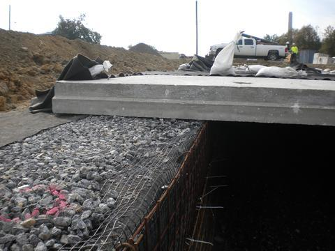 Rahns Concrete precast reinforced concrete roof panel for stormwater chamber.