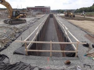 Temporary guide rail installed for safety at deep stormwater job.