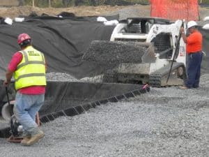 compaction of stone in infiltration pad
