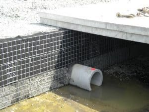 Breidge seat bearing of integrated bridge system used for stormwater detention.